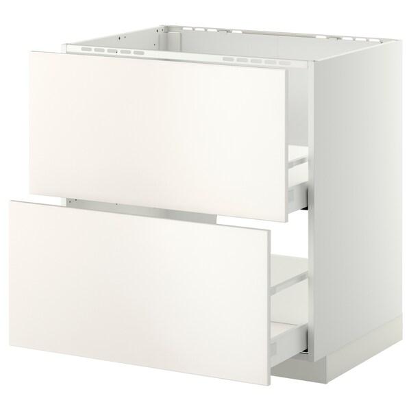 METOD Base cab f sink+2 fronts/2 drawers, white Maximera/Veddinge white, 80x60x80 cm