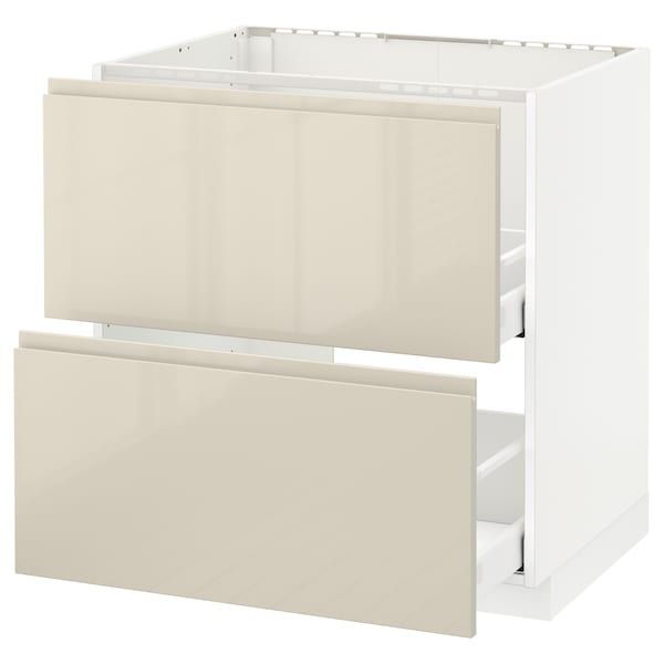 METOD Base cab f sink+2 fronts/2 drawers, white Maximera/Voxtorp high-gloss light beige, 80x60x80 cm