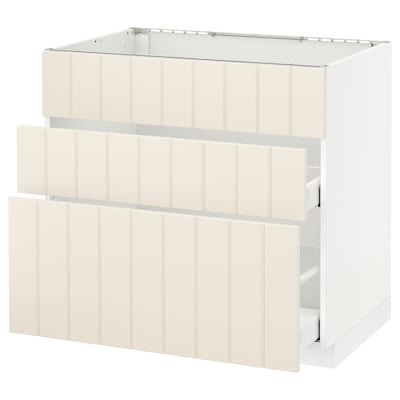METOD Base cab f sink+3 fronts/2 drawers, white Maximera/Hittarp off-white, 90x60x80 cm