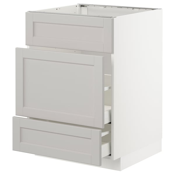METOD Base cab f sink+3 fronts/2 drawers, white Maximera/Lerhyttan light grey, 60x60x80 cm