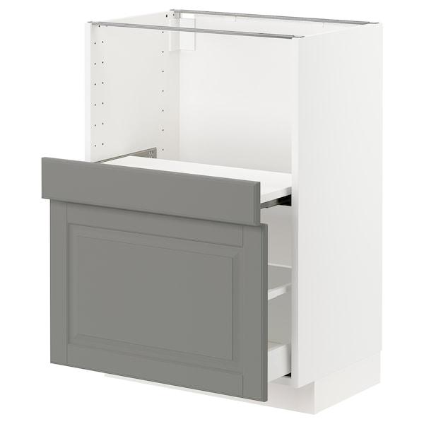 METOD Base cab w pull-out shelf/drawer, white Maximera/Bodbyn grey, 60x41x80 cm