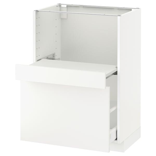 METOD Base cab w pull-out shelf/drawer, white Maximera/Häggeby white, 60x41x80 cm