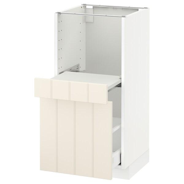 METOD Base cab w pull-out shelf/drawer, white Maximera/Hittarp off-white, 40x41x80 cm