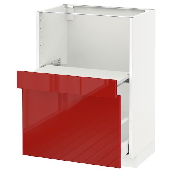 METOD Base cab w pull-out shelf/drawer, white Maximera/Ringhult red, 60x41x80 cm