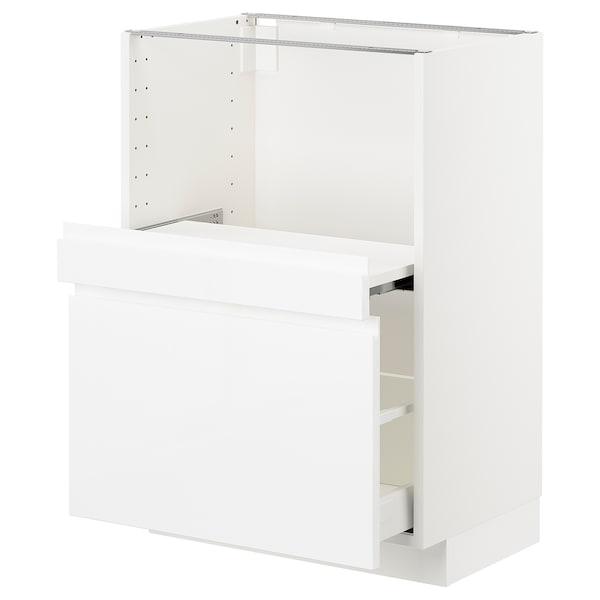 METOD Base cab w pull-out shelf/drawer, white Maximera/Voxtorp high-gloss/white, 60x41x80 cm