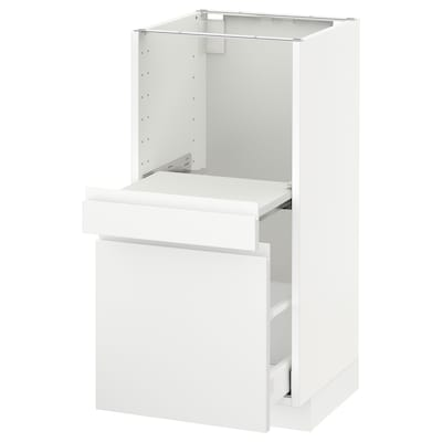 METOD Base cab w pull-out shelf/drawer, white Maximera/Voxtorp matt white, 40x41x80 cm