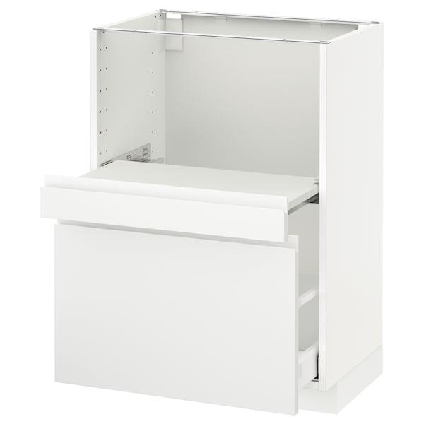 METOD Base cab w pull-out shelf/drawer, white Maximera/Voxtorp matt white, 60x41x80 cm