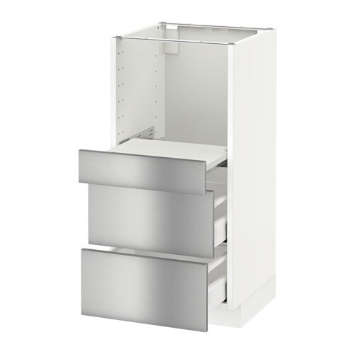 metod base cab w pull out shelf 2 drawers grevsta stainless steel 40x41x80 cm ikea. Black Bedroom Furniture Sets. Home Design Ideas