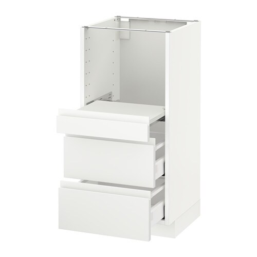 Metod Base Cab W Pull Out Shelf 2 Drawers Voxtorp White 40x41x80 Cm Ikea