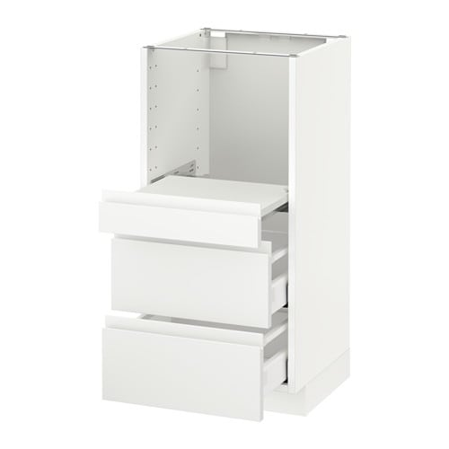 metod base cab w pull out shelf 2 drawers voxtorp white