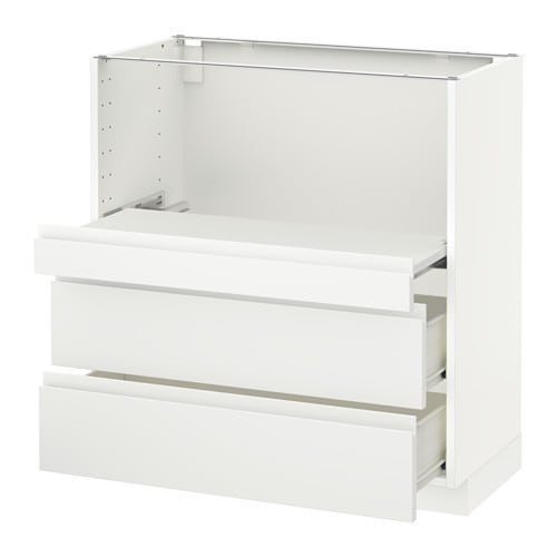 Metod Base Cab W Pull Out Shelf 2 Drawers F Voxtorp White 80x41x80 Cm Ikea