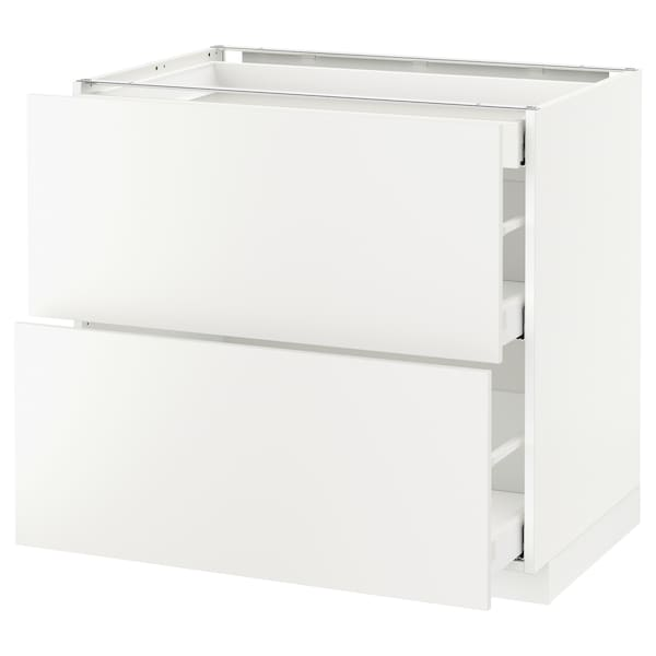 METOD Base cab with 2 fronts/3 drawers, white Maximera/Häggeby white, 90x60x80 cm
