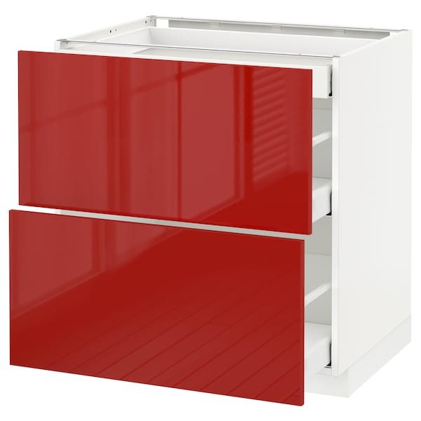 METOD Base cab with 2 fronts/3 drawers, white Maximera/Ringhult red, 80x60x80 cm