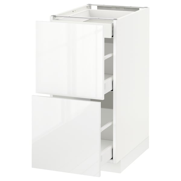 METOD Base cab with 2 fronts/3 drawers, white Maximera/Ringhult white, 40x60x80 cm