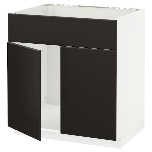 METOD Base cabinet f sink w 2 doors/front, white/Kungsbacka anthracite, 80x60x80 cm