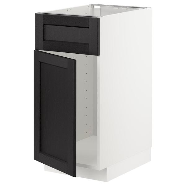 METOD base cabinet f sink w door/front white/Lerhyttan black stained 40.0 cm 60 cm 61.9 cm 80.0 cm