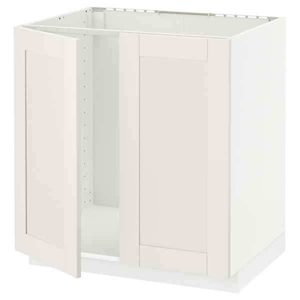 METOD Base cabinet for sink + 2 doors, white/Sävedal white, 80x60x80 cm