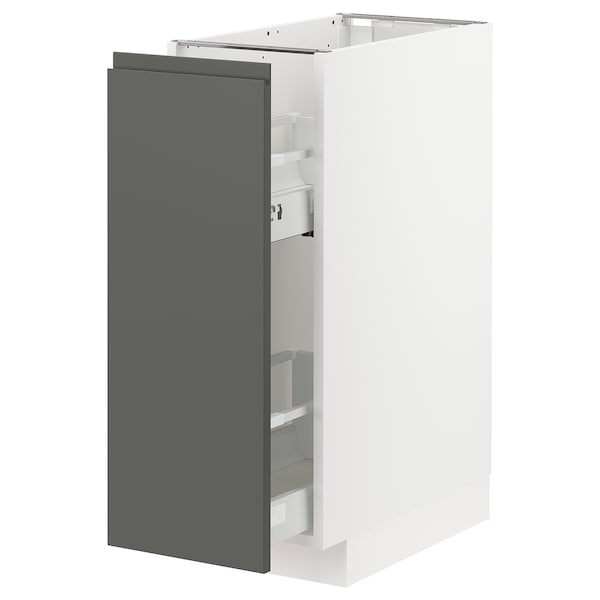METOD Base cabinet/pull-out int fittings, white/Voxtorp dark grey, 30x60x80 cm