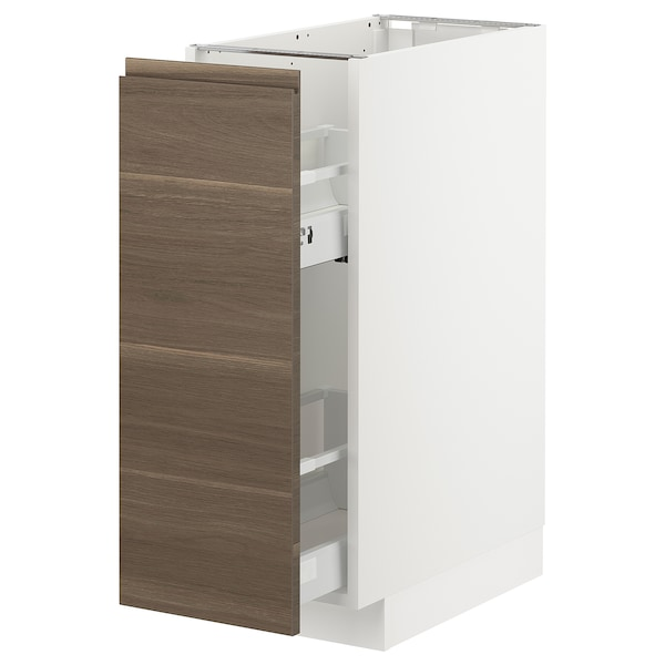 METOD Base cabinet/pull-out int fittings, white/Voxtorp walnut effect, 30x60x80 cm