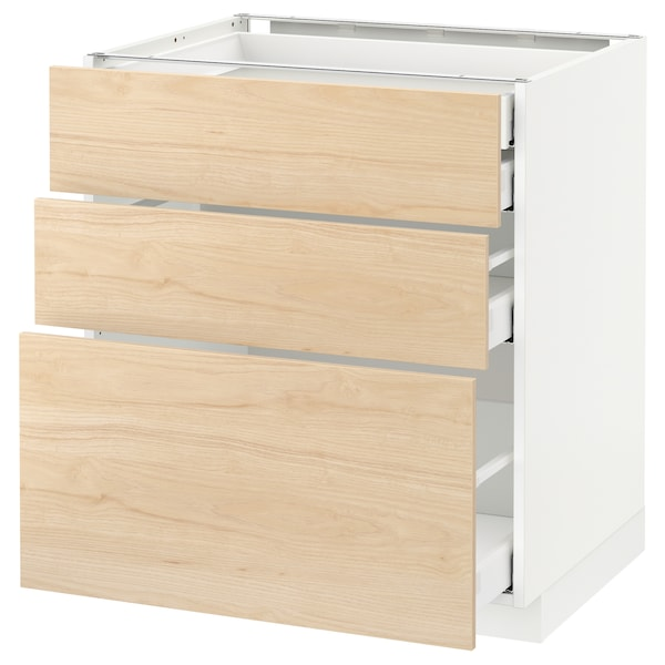 METOD Base cabinet w 3 fronts/4 drawers, white Maximera/Askersund light ash effect, 75x60x80 cm