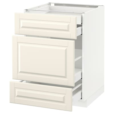 METOD Base cabinet w 3 fronts/4 drawers, white Maximera/Bodbyn off-white, 60x60x80 cm