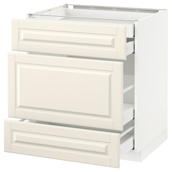 METOD Base cabinet w 3 fronts/4 drawers, white Maximera/Bodbyn off-white, 75x60x80 cm