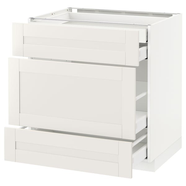 METOD Base cabinet w 3 fronts/4 drawers, white Maximera/Sävedal white, 80x60x80 cm