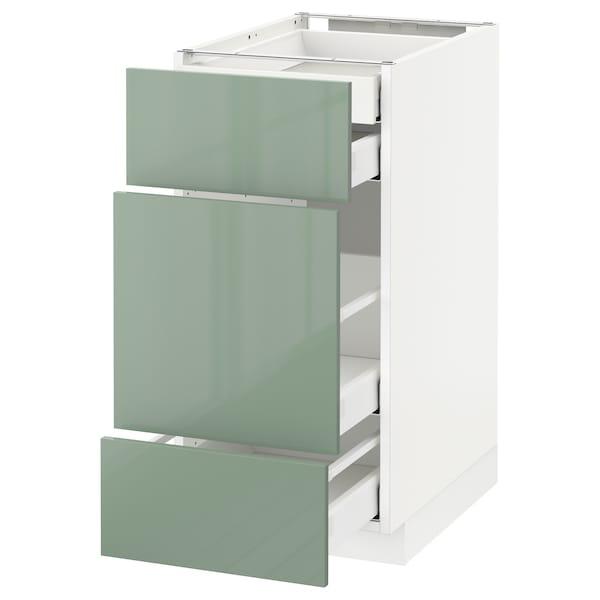 METOD base cabinet w 3 fronts/4 drawers white Maximera/Kallarp light green 40.0 cm 60 cm 61.6 cm 80.0 cm