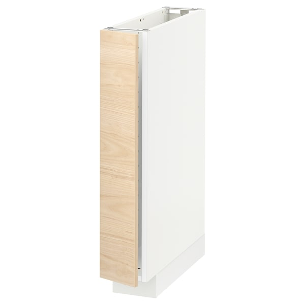 METOD Base cabinet, white/Askersund light ash effect, 15x60x80 cm