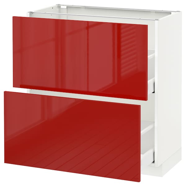 METOD Base cabinet with 2 drawers, white Maximera/Ringhult red, 80x41x80 cm
