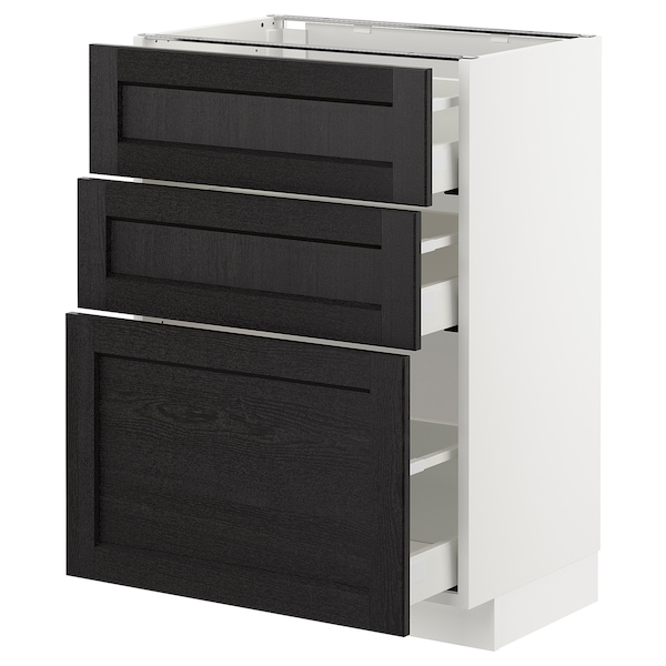 METOD Base cabinet with 3 drawers, white Maximera/Lerhyttan black stained, 60x41x80 cm