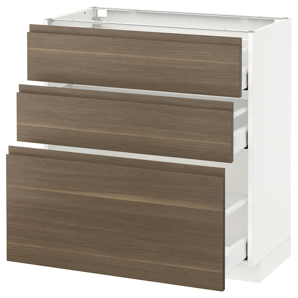 METOD Base cabinet with 3 drawers, white Maximera/Voxtorp walnut, 80x41x80 cm
