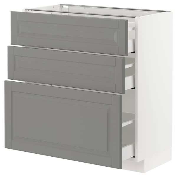 METOD base cabinet with 3 drawers white Maximera/Bodbyn grey 80.0 cm 41 cm 42.8 cm 80.0 cm