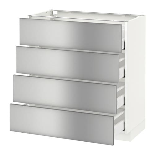 Metod base cabinet with 4 drawers grevsta stainless for Ikea metal cart with drawers