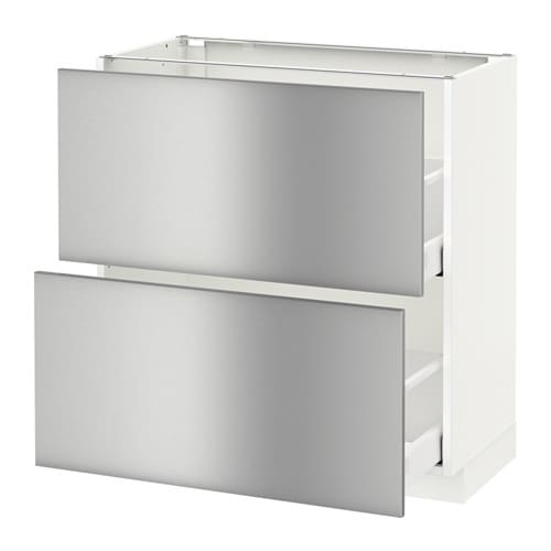 Metod base cabinet with 2 drawers grevsta stainless for Ikea metal cart with drawers