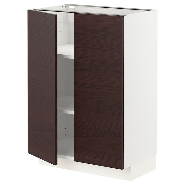 METOD Base cabinet with shelves/2 doors, white Askersund/dark brown ash effect, 60x41x80 cm