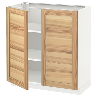METOD Base cabinet with shelves/2 doors, white/Torhamn ash, 80x41x80 cm