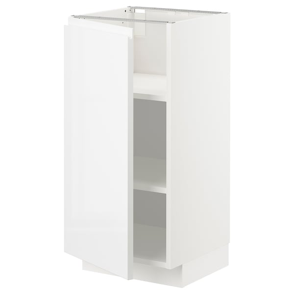 METOD Base cabinet with shelves, white/Voxtorp high-gloss/white, 40x41x80 cm