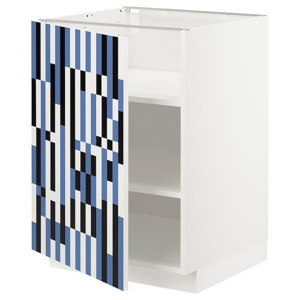METOD Base cabinet with shelves, white/Ytterbyn printed, 60x60x80 cm