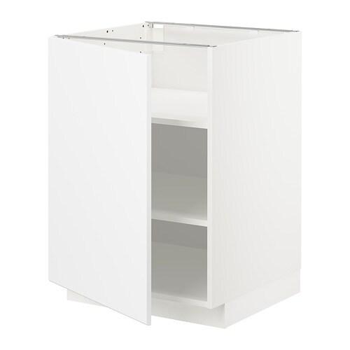 Metod Base Cabinet With Shelves White Kungsbacka Matt White