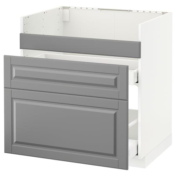 METOD Base cb f HAVSEN snk/3 frnts/2 drws, white Maximera/Bodbyn grey, 80x60x80 cm