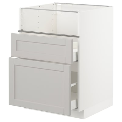 METOD Base cb f hob/fish grill/2 drawers, white/Lerhyttan light grey, 60x60x80 cm