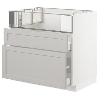METOD Base cb f hob/fish grill/2 drawers, white/Lerhyttan light grey, 90x60x80 cm