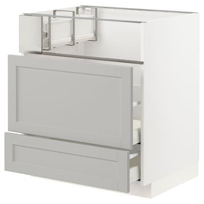 METOD Base cb f hob/fish grill/2 drawers, white/Lerhyttan light grey, 75x60x80 cm