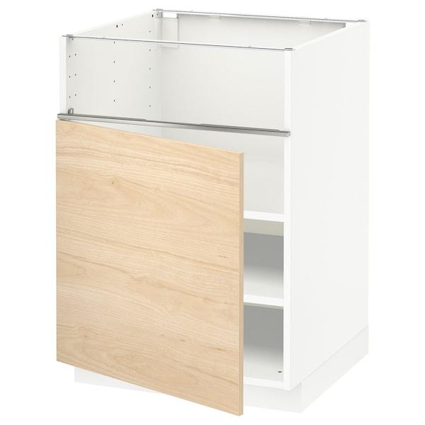 METOD Base cb f hob/fish grill/door, white/Askersund light ash effect, 60x60x80 cm