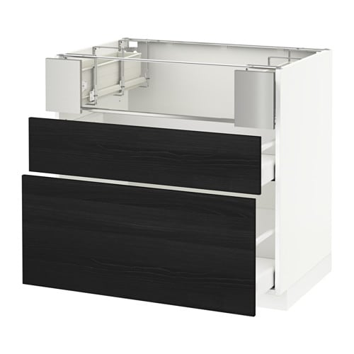 metod base cb f hob fish grill 2 drawers tingsryd wood effect black 90x60x80 cm ma ikea. Black Bedroom Furniture Sets. Home Design Ideas