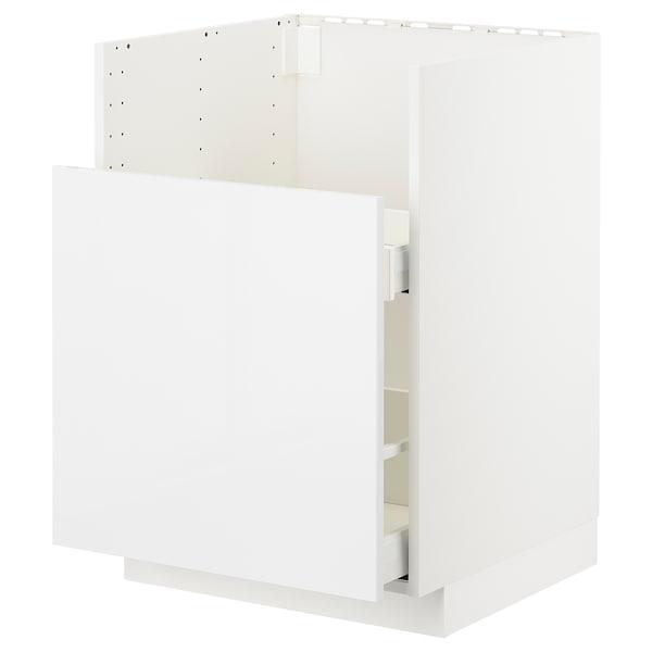 METOD Bc f BREDSJÖN snk/1 frnt/2 drws, white Ringhult/high-gloss white, 60x60 cm