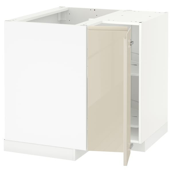 METOD Corner base cabinet with carousel, white/Voxtorp high-gloss light beige, 88x88x80 cm