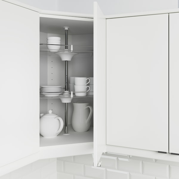 METOD Corner wall cabinet with carousel, white/Bodbyn off-white, 68x68x80 cm