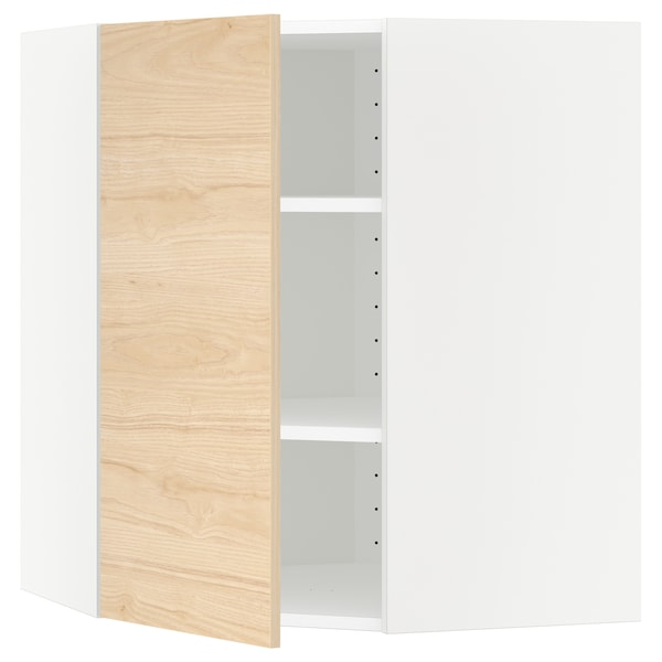 METOD Corner wall cabinet with shelves, white/Askersund light ash effect, 68x68x80 cm